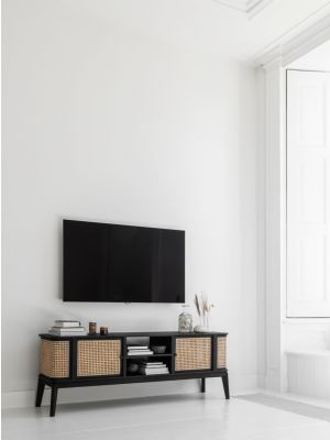24Designs Raffles Webbing Tv-Meubel - B170 x D40 x H60 cm - Zwart Mindi Hout