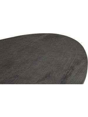 24Designs Salento Ovale Tafel L210 x B110 x H78 - Tafelblad Zwart Mangohout - Zwart Metaal