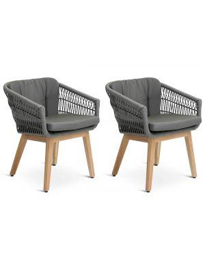24Designs Santander Tuin & Terrasstoel - Set van 2 - Grafietgrijs incl. Kussens