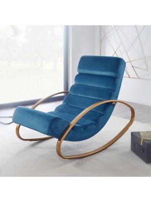 24Designs Lovise Relax Schommelstoel Velvet - Blauw Fluweel