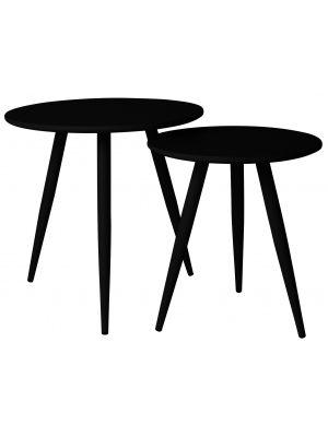 24Designs Set (2) Bijzettafels Roos - Ø40 cm + Ø50 cm - Zwart