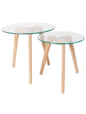 24Designs Set (2) Bijzettafels Jasmijn - Ø40 cm + Ø50 cm - Glas