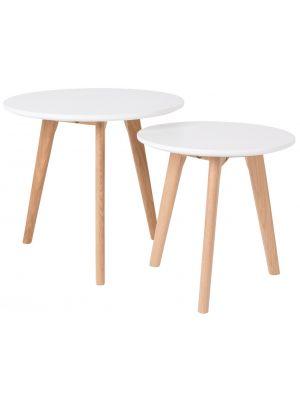 24Designs Set (2) Bijzettafels Jasmijn - Ø40 cm + Ø50 cm - Wit