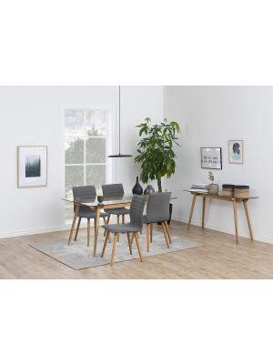 24Designs Sidetable Alvar - 140x45x75 - Glazen Tafelblad - Eikenhouten Poten