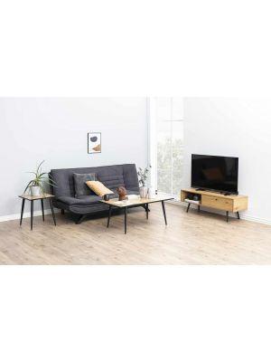 24Designs Slaapbank Jannick - Stof Donkergrijs - Mat Zwarte Metalen Poten