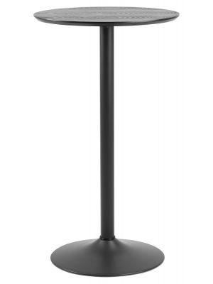 24Designs Esma Hoge Statafel - Ø60x H105 cm - Zwart Houten Tafelblad - Zwarte Trompetvoet