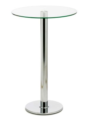 24Designs Lanzo Statafel - Hoogte 110 cm - Glazen Tafelblad Ø70 cm - Chromen Onderstel