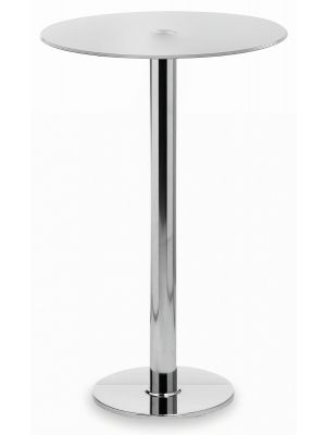 24Designs Lanzo Statafel - Hoogte 110 cm - Melkglas Tafelblad Ø70 cm - Chromen Onderstel