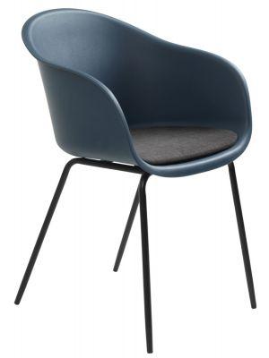 24Designs Tom Stoel Armleuningen - Set van 2 - Donkerblauw/Grijs Zitkussen - Zwart Metalen Poten