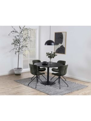 24Designs Ronde Eettafel Esma 4 Personen - 110 x H75 cm - Zwart Houten Tafelblad - Zwarte Trompetvoet