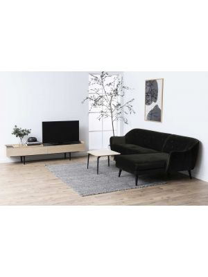 24Designs Connections TV-Meubel - B200 x D42.5 x H45.5 cm - Eiken - Zwarte Metalen Poten