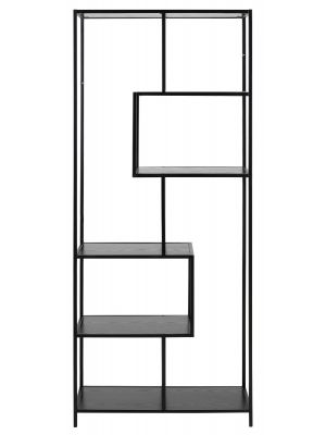 24Designs Vakkenkast Bradley - B77 x D35 x H185 cm - Zwart Hout Decor - Metalen Frame