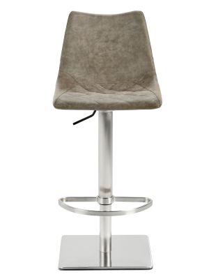 24Designs Jake Verstelbare Barkruk - Vintage Bruin Kunstleer - RVS Onderstel