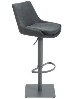 24Designs Verstelbare Barkruk Levi - Zwart Vintage Kunstleer - Grijs Onderstel