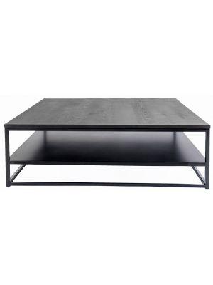 24Designs Salontafel Power – Vierkant 110 cm – Metaal – Zwart Eiken Tafelblad