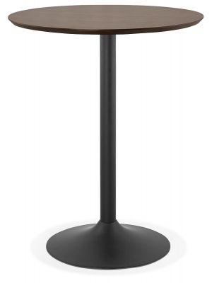 24Designs Vince Statafel H110 cm - Rond Ø90 cm Notenhout Tafelblad - Zwart