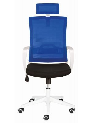 24Designs Vision Bureaustoel - Stof Blauw/Zwart - Witte Kruispoot
