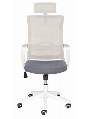 24Designs Vision Bureaustoel - Stof Zilvergrijs/Grijs - Witte Kruispoot