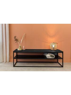 24Designs Power TV meubel – B160 x D40 x H50 cm – Metaal – Zwart Eiken Blad