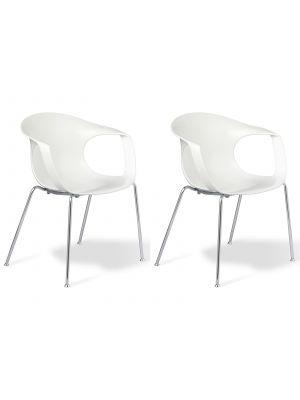 24Designs Brescia Stapelbare Stoel - Set van 2 - Zitting Wit - Chromen Onderstel