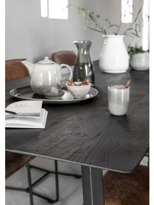 24Designs Timeless Eettafel Shape - L250 x B100 x H78 cm - Zwart Teakhout
