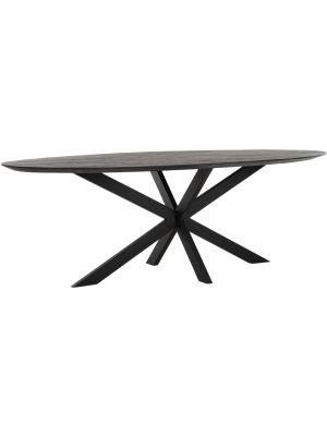 24Designs Timeless Shape Ovale Eettafel L240 x B110 x H78 cm - Zwart Teakhout