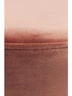 Kare Design Cherry Poef - Ø55x35 - Roze Fluweel - Zilver