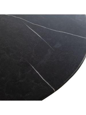 24Designs Pablo Ronde Eettafel - Diameter 137 x H76 cm - Zwart Marmeren Tafelblad - Metalen Onderstel