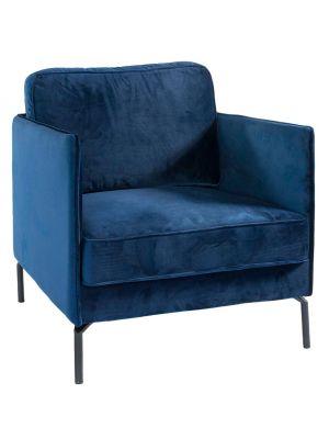 24Designs Fauteuil Positive Velvet – Blauw Fluweel – Zwart Onderstel