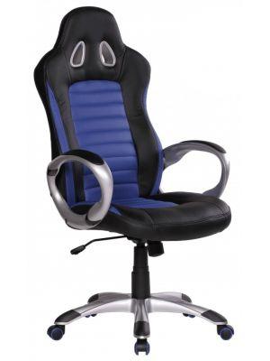 24Designs Rens Bureaustoel & Gamestoel - Kunstleer - Zwart/Blauw
