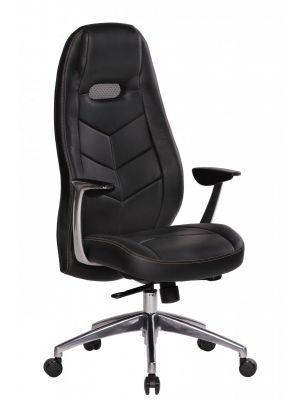 24Designs Milo Bureaustoel - Zwart Leren Zitting - Aluminium Kruispoot