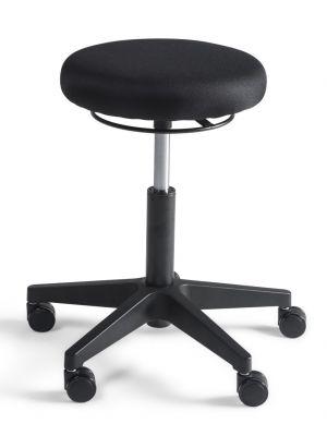 24Designs Tabouret Lage Werkkruk stof nylon - Verstelbare zithoogte 45 - 61 cm - Zwart
