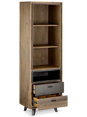 24Designs Malaga Boekenkast - B60 x D40 x H187 cm - Massief Acaciahout - Bruin-Grijs