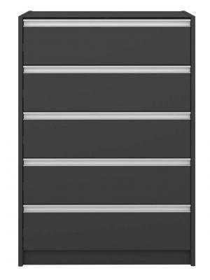 24Designs Skyline Ladekast met 5 lades B73 x D49 x H103 cm – Zwartgrijs