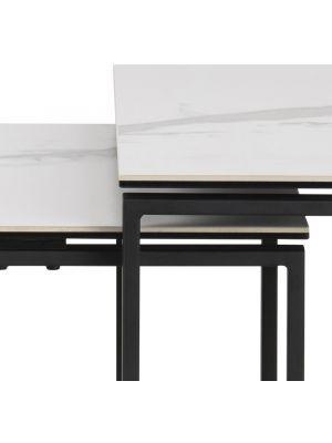 24Designs Set (3) Bijzettafels Serenity - Wit Keramiek - Mat Zwart Metalen Onderstel