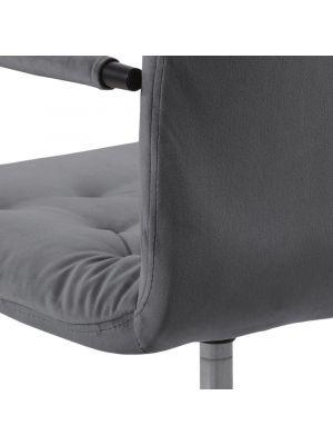 24Designs Grace Velvet Bureaustoel - Donkergrijs Fluweel - Zwarte Kruispoot met Wielen