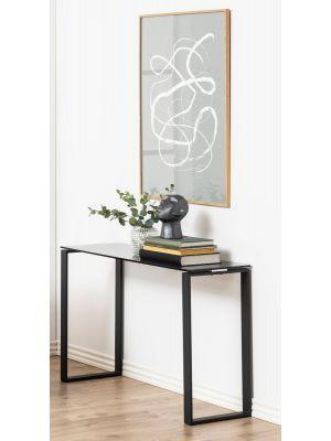 24Designs Sidetable Serenity - B110 x D40 x H76 cm - Smoke Glas - Zwart Metalen Onderstel