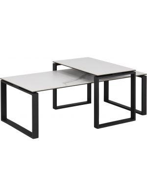 24Designs Salontafel Serenity - Tafelblad Wit Keramiek - Zwart Metalen Onderstel