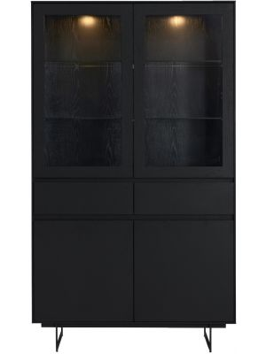 24Designs Tokyo Vitrinekast - B110 x D45 x H190 cm - Eikenfineer - Zwart