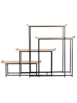 Zuiver Flodka Open Plankenkast - 4-Planken - B200 x D37 x H147 cm - Zwart
