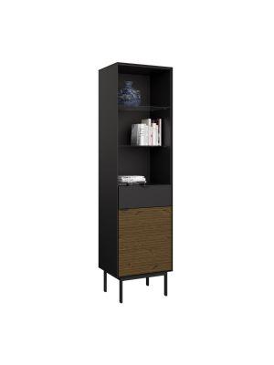 24Designs Soma Boekenkast B51 x H190 cm – Zwart/Bruin