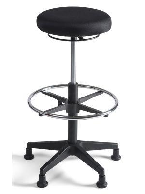 24Designs Tabouret Hoge Werkkruk stof nylon - Verstelbare zithoogte 57 - 83 cm - Zwart