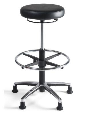 24Designs Tabouret Hoge Werkkruk PVC alu - Verstelbare zithoogte 57 - 83 cm - Zwart