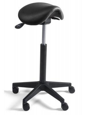 24Designs Zadelkruk Smalle Zitting Zwart - Verstelbare zithoogte 60 - 86 cm - Zwart Onderstel