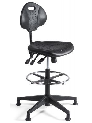 24Designs Werkstoel hoog Nylon - Verstelbare zithoogte 57 - 83 cm - Zwart