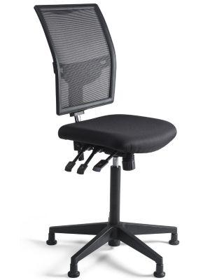 24Designs Bedrijfsstoel en Werkstoel Hoog - Mesh Zwart - Zithoogte 60 - 86 cm - Zwart Onderstel