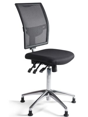 24Designs Bedrijfsstoel en Werkstoel Hoog - Mesh Zwart - Zithoogte 60 - 86 cm - Aluminium Onderstel