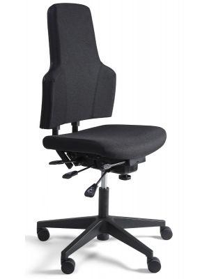 24Designs Wenen Ergonomische Bedrijfsstoel EN1335 - Stof Zwart - Zwart Onderstel