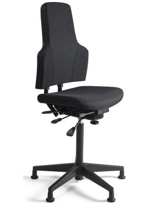 24Designs Bedrijfsstoel Hoog - Stof Zwart - Verstelbare zithoogte 66 - 91 cm - Zwart Kunststof Onderstel