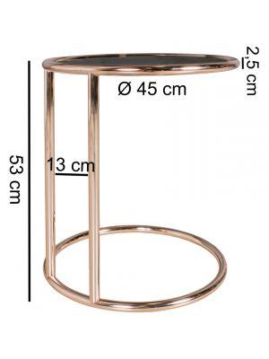 24Designs Boris Bijzettafel Ø45x53 cm - Zwart Glas - Koperkleur